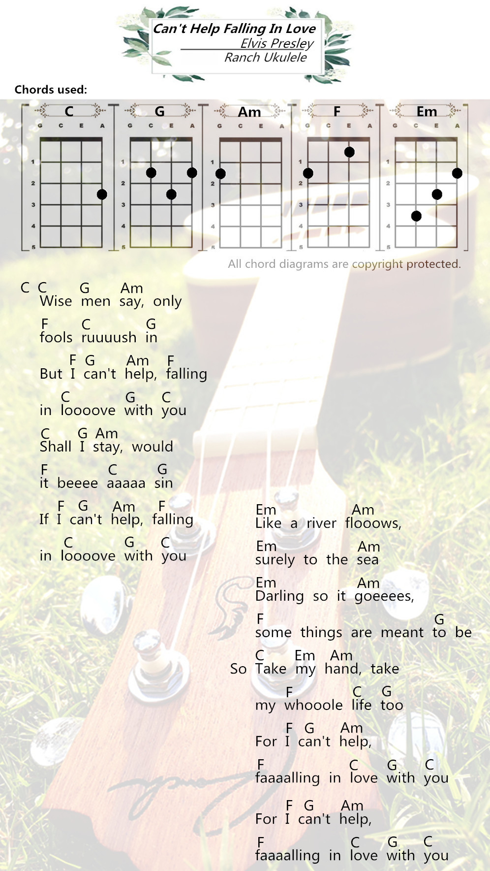 Ukulele Chords Cant Help Falling In Love Elvis Presley Ranch Songs