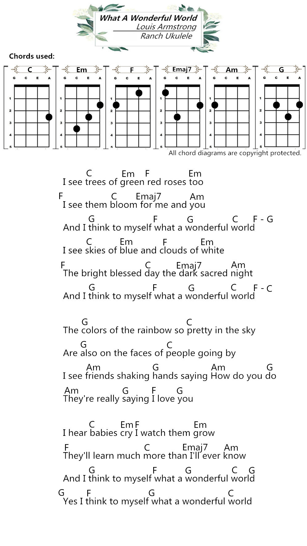 Ukulele Chords What A Wonderful World Louis Armstrong Ranch