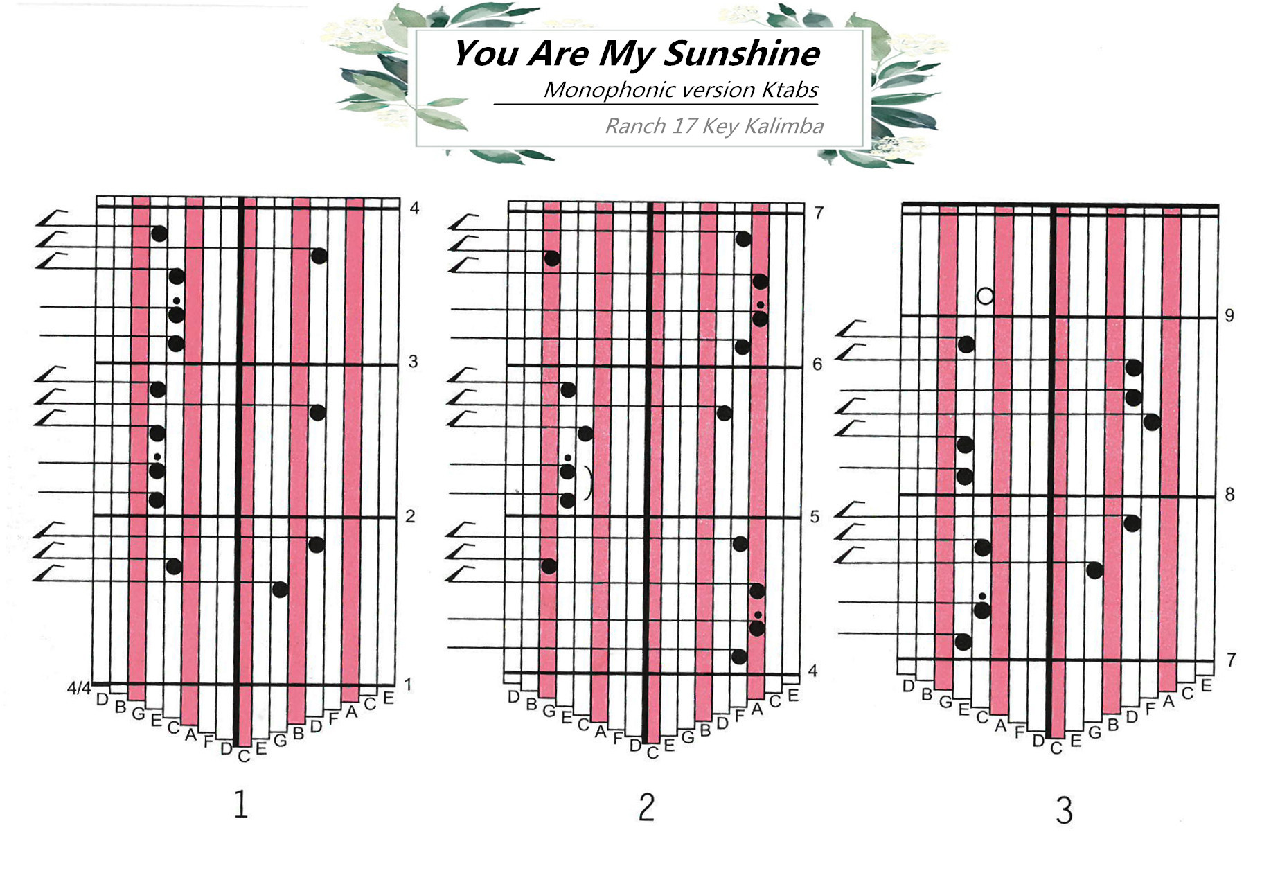 Ranch Beginners 17 key Kalimba Lesson 2 -You Are My Sunshine